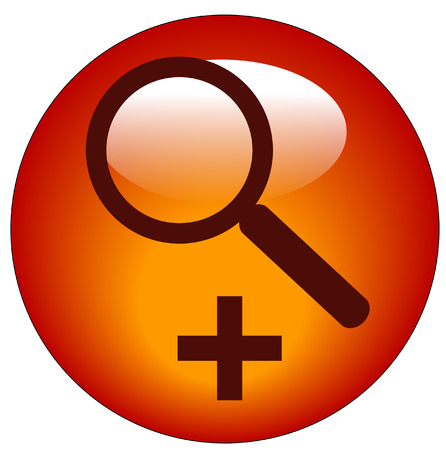 specific: magnifying glass on plus button - zoom in icon Illustration