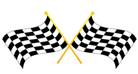 end line: cruzaron dos en blanco y negro agitando banderas cuadros - vector