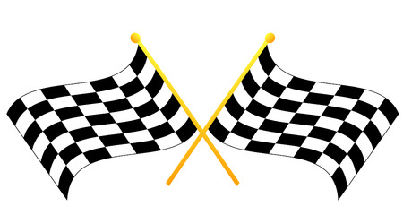 two crossed waving black and white checkered flags - vector Illustration
