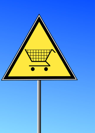 yellow triangular sign with a shopping cart against a blue sky Stock Vector - 3367767