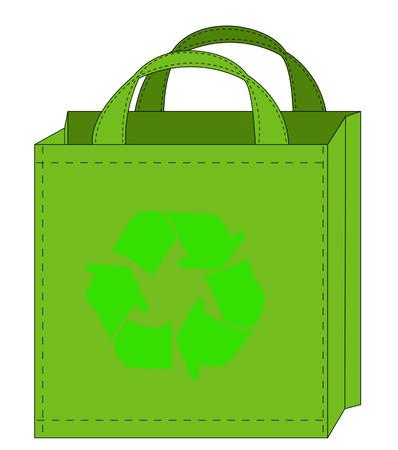 reusable: illustrazione di una shopping bag riutilizzabile con riciclare simbolo