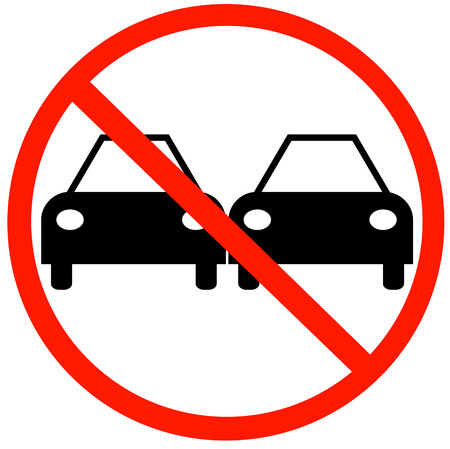 passing the road: illustration of no passing road sign with two cars