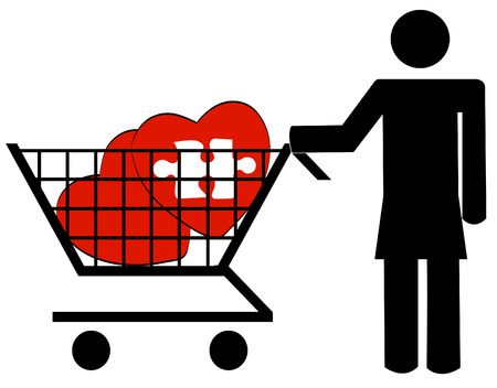woman pushing shopping cart with hearts - shopping for love Stock Vector - 3367783