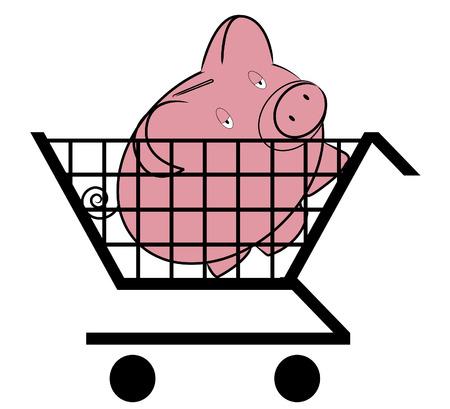 Shopping cart with piggy inside -  concept Vector