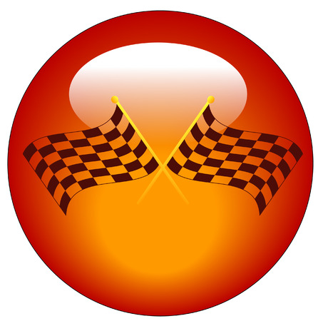 two crossed checkered flags on web button or icon Illustration