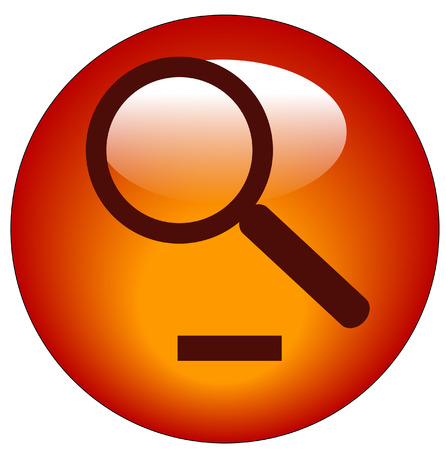 magnifying glass on minus button - zoom out icon Vector