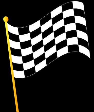 rallying: bandera ondeando sobre un fondo negro  Vectores