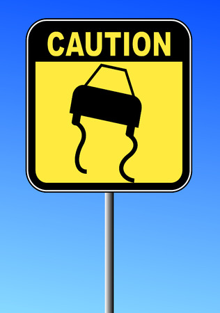 black and yellow caution sign against blue sky - road slippery Vector