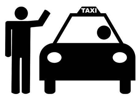 hail: person with arm up hailing a taxi Illustration