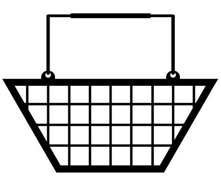 supermarket checkout: illustration of a black shopping basket symbol