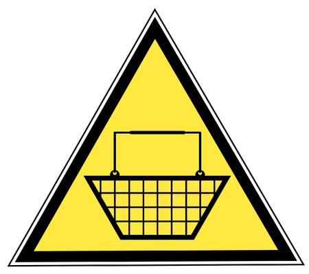 yellow triangular sign with a shopping basket Stock Vector - 3377537