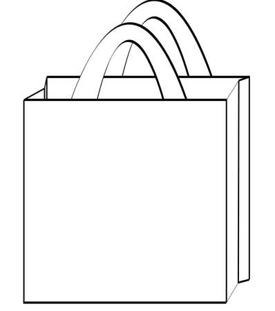 outline of a reusable shopping bag - illustration