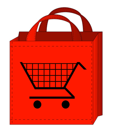 red shopping bag with a shopping cart on it Vector
