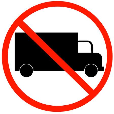 unlawful: Los camiones no permitidas signo aislado sobre un fondo blanco