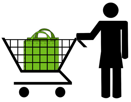 stick woman pushing shopping cart with bag  Vector