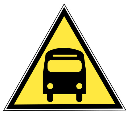 yellow triangle sign with a bus - transportation concept Vector