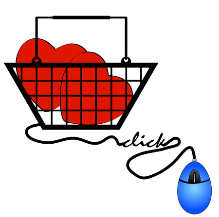 concept of shopping online for internet love Vector