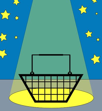 illustration of a shopping basket under the spotlight Stock Vector - 3387231