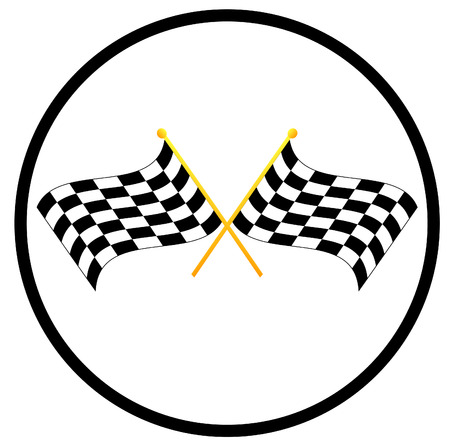 rallying: illustration symbol of two waving checkered flags