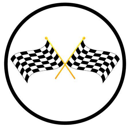 rallying: ilustraci�n s�mbolo de dos banderas ondeando checkered