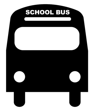 black silhouette illustration of the front of a school bus Vector