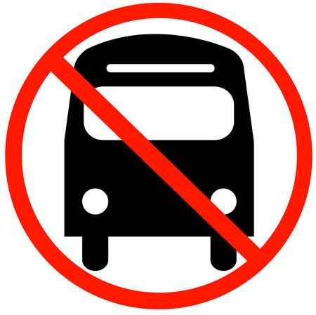 bus with not allowed symbol - no bus parking or buses not allowed in this lane Vector