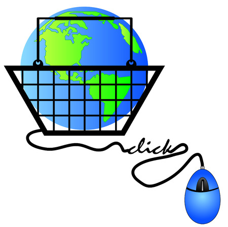 hand basket connected to internet shopping - international shopping Vector