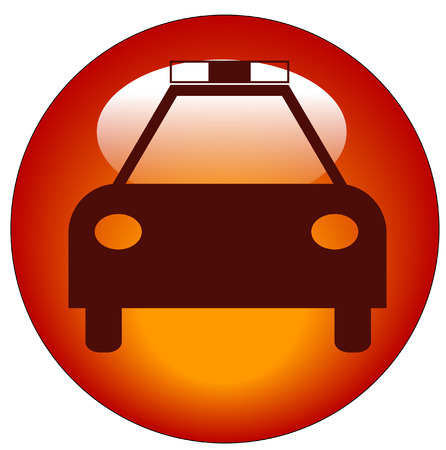alerts: red police web button or icon - law enforcement concept