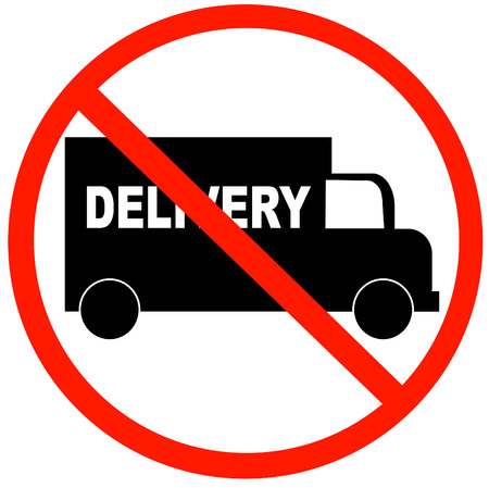 forewarning: truck with no delivery available symbol - illustration