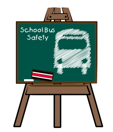 school bus safety and bus on chalkboard and easel Stock Vector - 3410299