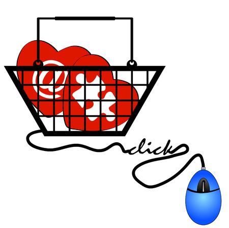 worldwideweb: concept of shopping online for internet love Illustration