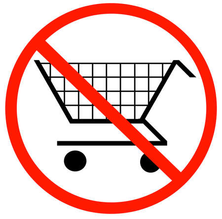 checkout line: shopping cart with not allowed symbol - no shopping carts allowed