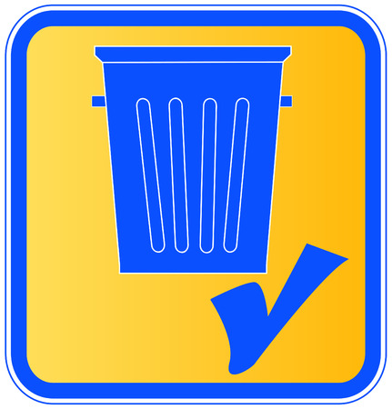 throwaway: garbage can with a check mark - put in garbage icon