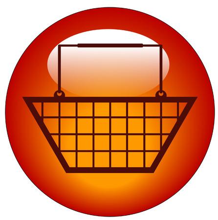 red shopping basket web button or icon - vector Stock Vector - 3410314