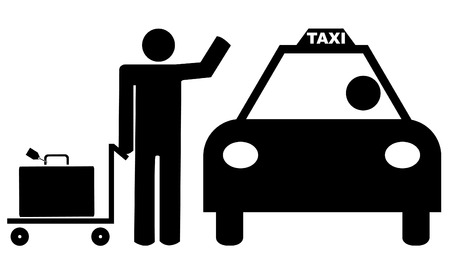 man with luggage hailing a taxi cab Vector
