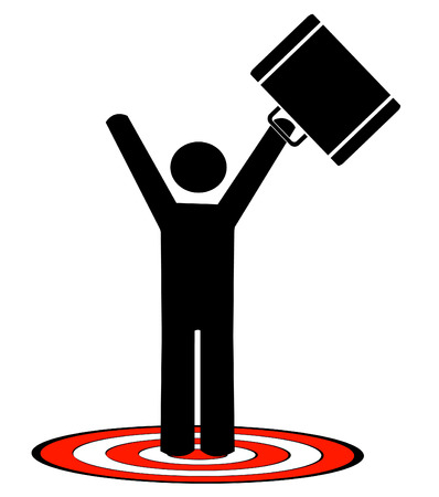 business man with briefcase standing on target with arms up