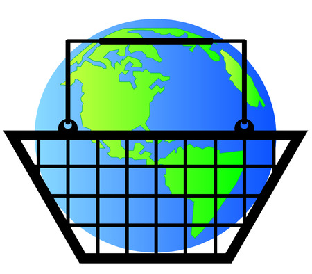 earth or globe inside shopping basket - world commerce- vector Vector
