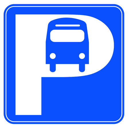 blue and white  bus parking sign - illustration Vector