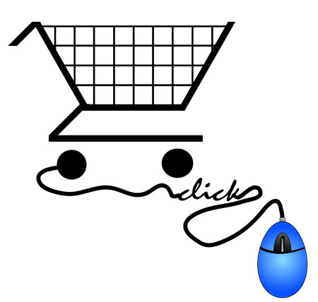 supermarket checkout: shopping cart connected to computer mouse - internet shopping concept Illustration