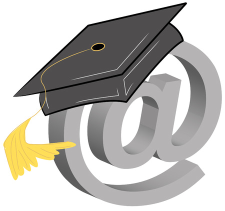 black graduate: graduation cap and connection symbol - online graduation Illustration