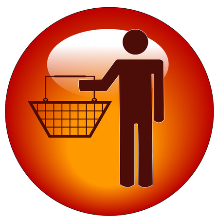 red button of a man holding a shopping basket Stock Vector - 3433388