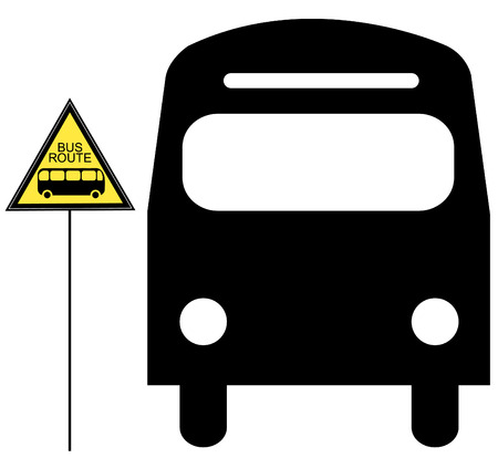 motor coach: bus stopped and yellow bus stop sign