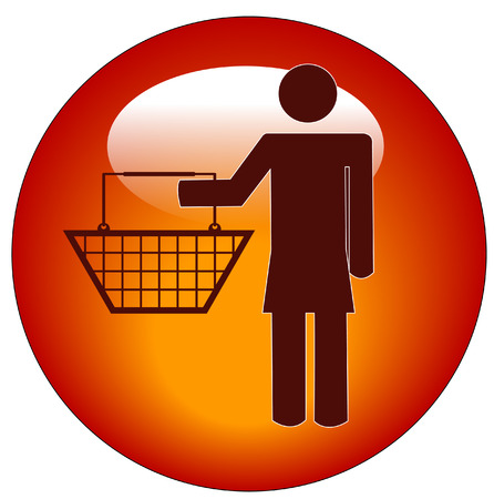 red button of a woman holding a shopping basket Vector