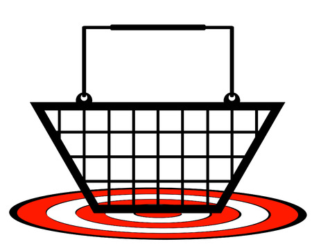 underneath: shopping cart with target underneath - retail target concept