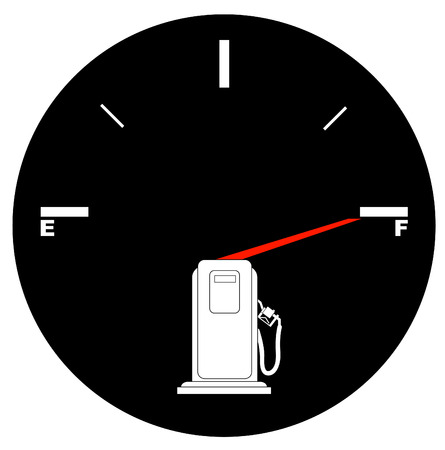 dashboard: vehicle fuel gauge with arrow pointing to full - illustration