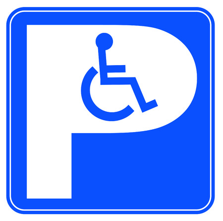 blue handicap parking or wheelchair parking space sign Stock Vector - 3436116