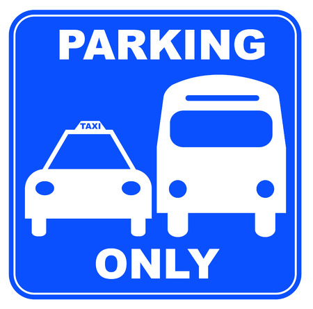 motor coach: blue and white bus and taxi parking sign - illustration