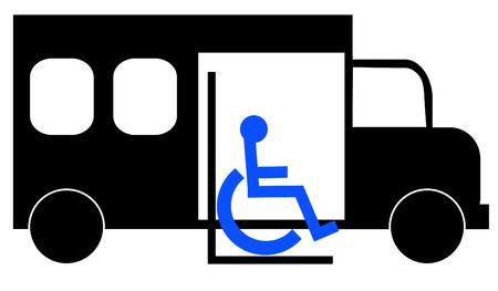 facilitate: illustration of paratransit bus picking up wheelchair passenger