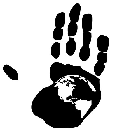 shape of earth inside the print on a persons hand Stock Vector - 3448438