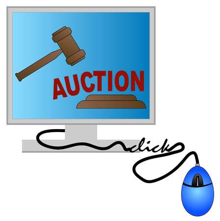 ebay: computer monitor with gavel - concept of online auction